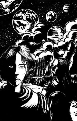 Soleil noir, deux femmes marchent