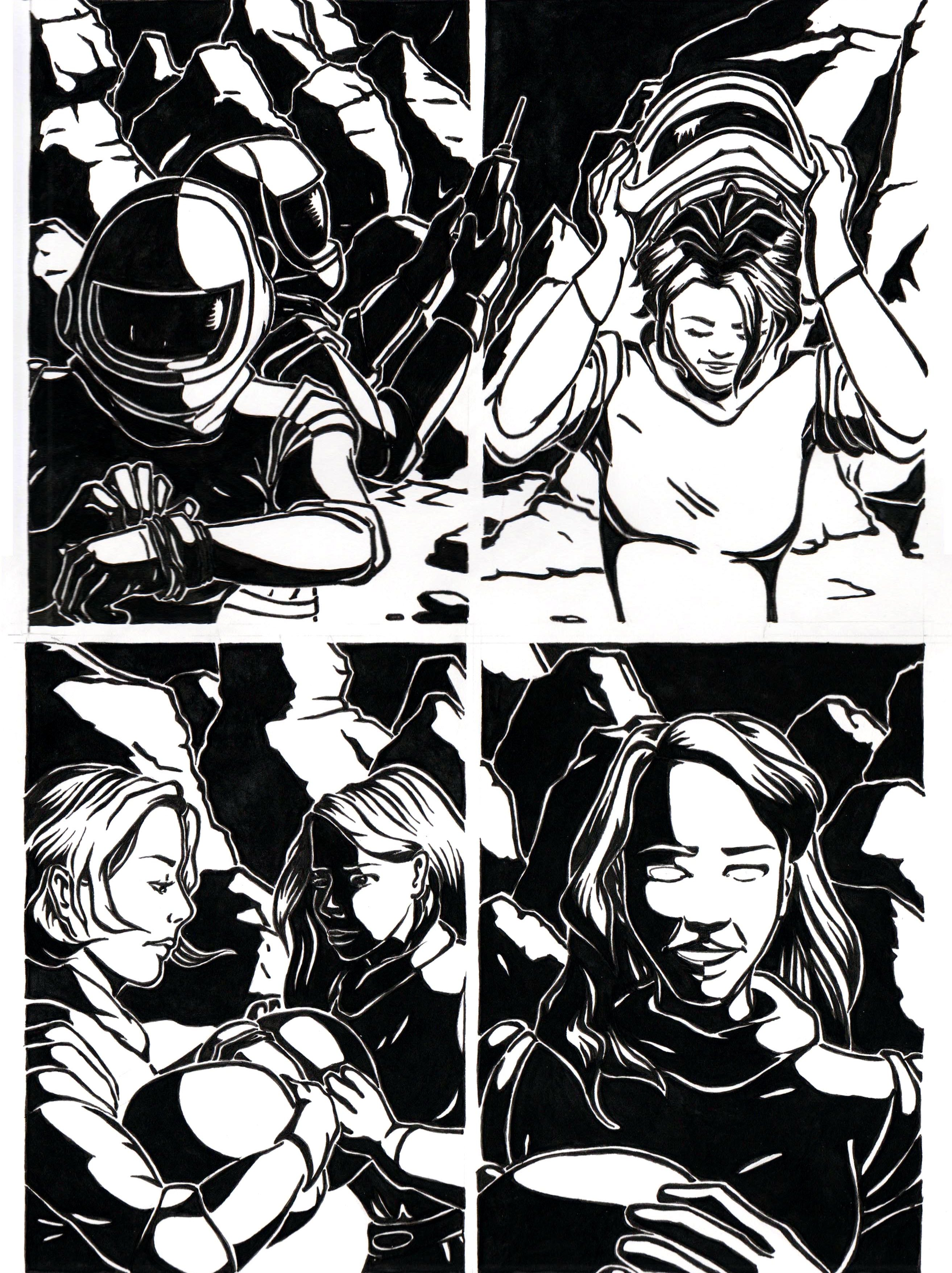 Soleil noir, deux femmes arrivent